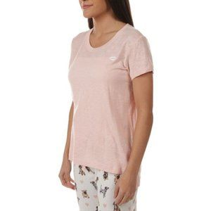 PJ Salvage Pink Tee with Embroidered Lips Size XS